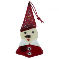 Murano Glass Elf Christmas Ornament - White