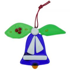 Murano Glass Bell Christmas Ornament - Blue