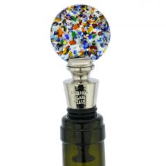 Murano Glass Multicolor Round Bottle Stopper