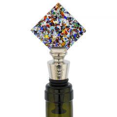 Murano Glass Multicolor Diamond Bottle Stopper