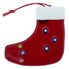 Murano Glass Christmas Stocking Ornament - Red