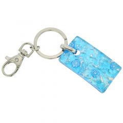 Murano Colors Rectangular Keychain - Aqua Silver