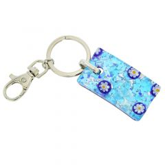 Murano Colors Rectangular Keychain - Aqua Blue