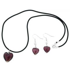 Venetian Reflections Puffed Heart Necklace and Earrings Set - Purple