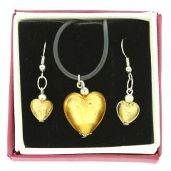 Venetian Reflections Puffed Heart Necklace and Earrings Set - Gold