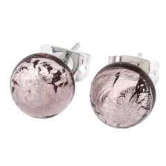 Murano Ball Stud Earrings - Purple
