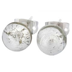Murano Ball Stud Earrings - Silver White