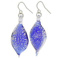 Silver Rain Murano Leaf Earrings - Blue