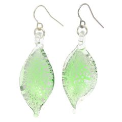 Silver Rain Murano Leaf Earrings - Green
