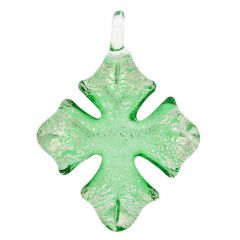 Silver Rain Cross Pendant - Green
