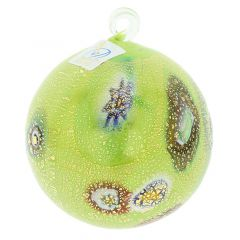 Murano Glass Medium Millefiori Christmas Ornament - Green Gold