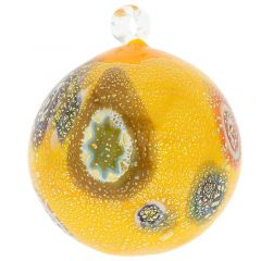 Murano Glass Medium Millefiori Christmas Ornament - Yellow Gold