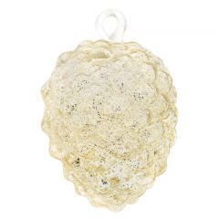 Murano Glass Pine Cone Christmas Ornament - Clear