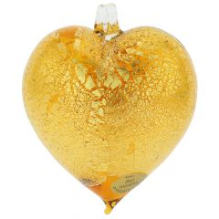 Murano Glass Heart Christmas Ornament - Golden Brown