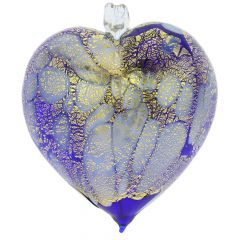 Murano Glass Spotted Heart Christmas Ornament - Blue Gold