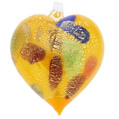 Murano Glass Heart Christmas Ornament - Yellow Gold