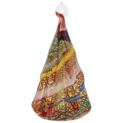 Murano Glass Christmas Tree Hanging Figurine - Red