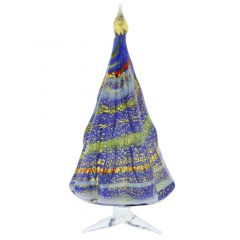 Murano Glass Christmas Tree Standing Sculpture - Blue