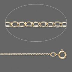 Gold-Filled Flat Cable Chain, 1.3mm Links - 16 Inches