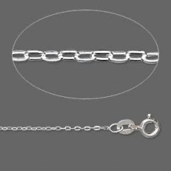 Sterling Silver Flat Cable Chain, 1.4mm Links - 18 Inches