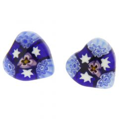 Millefiori Heart Stud Earrings