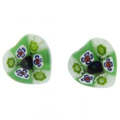 Millefiori Heart Stud Earrings #4