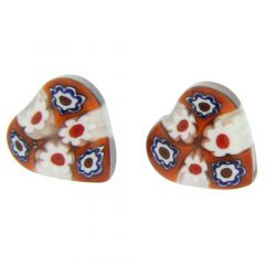Millefiori Heart Stud Earrings #6
