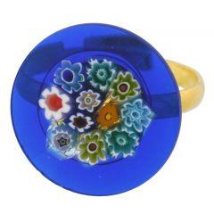 Murano Millefiori Blue Multicolor Ring 3/4 Inch