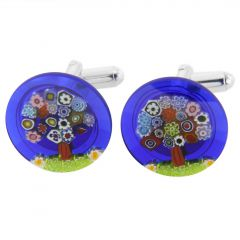 Murano Millefiori Cufflinks - Tree of Life