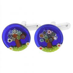 Murano Millefiori Cufflinks - Tree of Life - 1/2 Inch