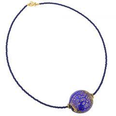 Serenella Murano Necklace - Navy Blue