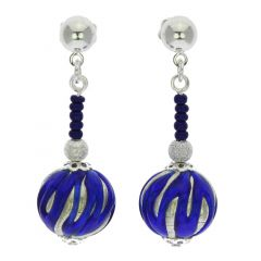 Canaletto Earrings - Silver Navy Blue