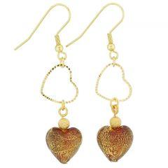 Ca D'Oro Venetian Heart Earrings - Red