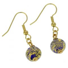 Golden Glow Earrings - Navy Blue