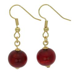 Murano Balls Earrings - Ruby Red