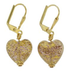 Ca D'Oro Murano Heart Earrings - Purple