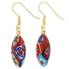 Murano Mosaic Millefiori Olive Earrings - Gold