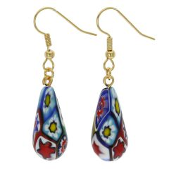 Murano Mosaic Millefiori Drop Earrings - Gold