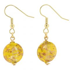 Starlight disk earrings - mustard yellow