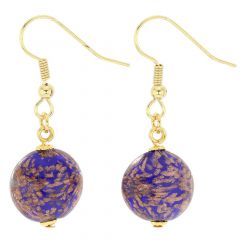 Starlight disk earrings - navy blue