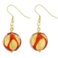 Royal Red Circle Earrings