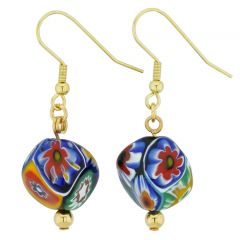 Murano Mosaic Millefiori Cube Earrings - Gold