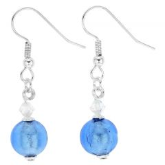 Murano Sparkling Ball Earrings - Sky Blue