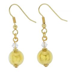 Murano Sparkling Ball Earrings - Liquid Gold