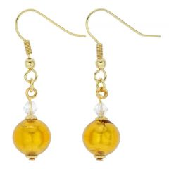Murano Glass Drop Earrings - Gold Balls