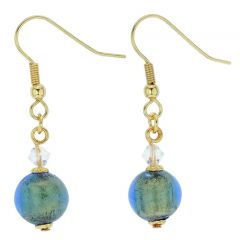 Murano Sparkling Ball Earrings - Royal Blue