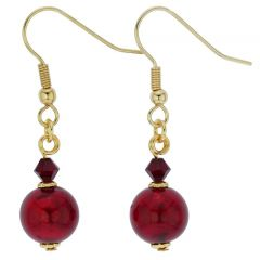 Murano Sparkling Ball Earrings - Ruby Red