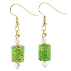 Ca D'Oro Murano Barrel Earrings - Emerald Green