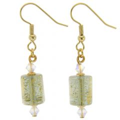 Ca D'Oro Murano Barrel Earrings - Cloudy Sky
