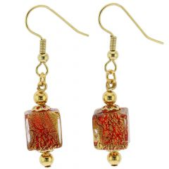 Antico Tesoro Cubes Earrings - Ruby Red
